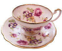 EB Foley Footed Tea Cup & Saucer Pink Cabbage Rose Bone China Gold England