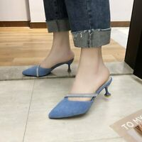 Women's Pointed Mules Sandals Kitten Heels Pumps Slippers Casual Shoes US4.5-8