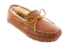 Men's Minnetonka Sheepskin Lined Moose Slipper Carmel Moosehide