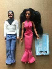 """Vtg 1976 Mego Sonny & Cher 12"""" Dolls Action Figures Original Outfit Mego Catalog"""