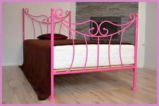 Handgeschmiedetes einzel Metallbett Kornelia 90 x 200 inkl. Lattenrost, rosa!