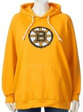Boston Bruins NHL Majestic Womens Pullover Rope Hoodie Gold Plus Size 3X