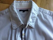 Size 10 Womens Tommy Hilfiger Slim fit womens cotton Dobby Blue stripe shirt £75