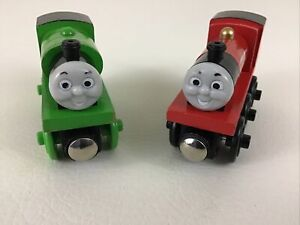 Thomas & Friends Magnetic Wooden Railway Train Percy  James 2pc Lot Fisher Price