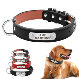 Personalized Dog Collar Soft PU Leather for Pet Dog Custom Metal ID Tag Engraved