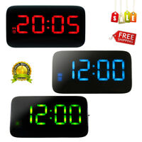 LED Digital Alarm Clock Voice Control Time Display USB/Battery Operated Bedroom
