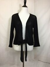 Cut Loose S Black Sweater Open Knit Tie Front Summer Cotton Long Sleeve USA