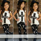 Toddler Baby Kids Girls Cute Print T Shirt Tops Pants Summer Outfits Set Clothes