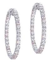 "2.10 ct Round Diamond White 14k Gold Oval Shape Hoop Earrings, 1"", 40 x 0.05 ct"