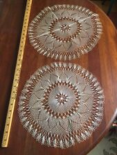"""2 Antique Hairpin Lace Handmade Lace Doilies Large Off-white 13.5"""" & 15"""""""