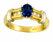 Cornflower Blue Sapphire Solitaire with Diamond Accents 14K Gold Ring Size 6.25