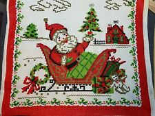 Vintage Linen Kitchen Towel Fabric Christmas / Holiday Santa Parisian Unused