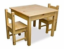 Childrens wooden square table + 2 chairs set, solid pine, sturdy, superb quality