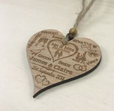 Personalised Save The Date Cards Wooden Wedding Wood Rustic Heart