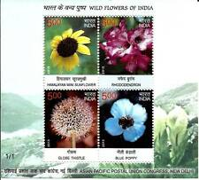 India 2013 MNH  3 Miniatures of 4 Stamps each Wild Flowers of India