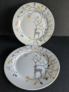 """(2) Pottery Barn Luxe Caribou Plates 9"""" Salad Luncheon Appetizer Metallic Stag"""