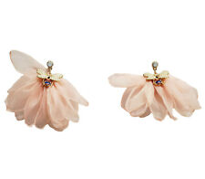 PINK CHIFFON FABRIC DROP EARRINGS WITH JEWELED GOLD TONE BEE GUCCI LOOK
