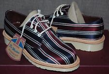 Dr Martens Percy (1461) Made In England MIE Navy & Red Striped Silk Shoes, 3UK