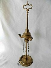 """Antique Brass Oil Lamp, 3 Burners, with Tools, 19"""" Tall"""