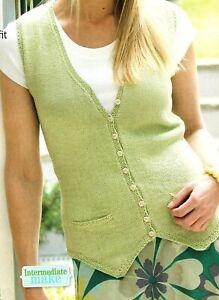 Ladies plain waistcoat Knitting pattern in Patons cotton 4ply. Girls sleeveless
