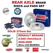 REAR BRAKE PADS + DISCS + BEARING for RENAULT MEGANE 2.0dCi Hatchback 2006-2008