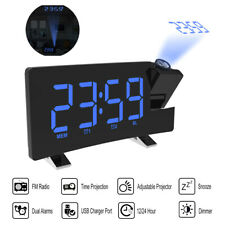 Digital Lcd Snooze Alarm Clock Radio 00006000  Led Color Display Wall/Ceiling Projection