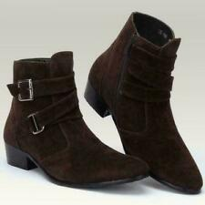 Mens Casual Ankle Boots Chelsea cowboy Zipper Buckle Strap Dress Shoes MOON