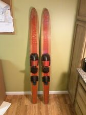 """Vintage Riviera  Deluxe Combo R-80 Birch Laminate Water Skis Rubber Boots 67.5"""""""