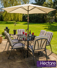 Hadleigh Outdoor Garden Patio Dining Set 6 Seater Parasol Black