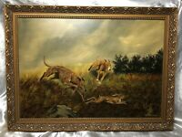 Victorian Style Oil Painting Hunting Animal Dogs Chasing Hare Signed W Hobson
