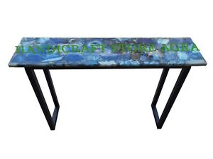 Blue agate console table Agate coffee table Agate side table with metal stand