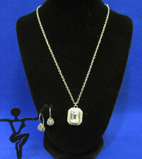 Sterling Silver Cubic Zirconia Earrings & Silvertone Pendant Necklace Jewelry