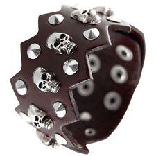 Brown Punk Cool Men Wide Leather Skull & Spike Bracelet Cuff Wristband Bracelet