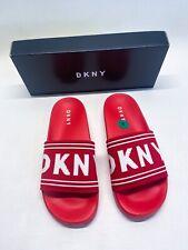NEW DKNY ZORA LOGO SLIDE FLAT SANDALS RED WHITE 8