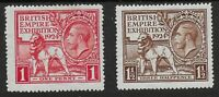 """SG430/1-1924 Wembley Pair-1st.Perf.Type """"Line Perf"""" (Pin Perf.).Fine MM.Ref:0.34"""