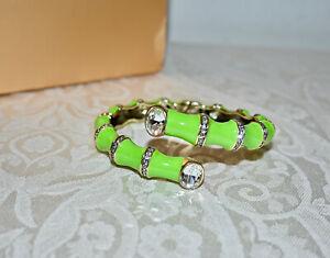 "New $90 HEIDI DAUS ""Bamboozled"" Crystal Green Enamel Cuff Bracelet Size S/M"