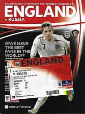 Football Programme plus Ticket>ENGLAND v RUSSIA Sept 2007 @ Wembley