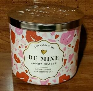 Bath & Body Works Be Mine Candy Hearts 3-Wick Candle Large 14.5 Oz Made With...