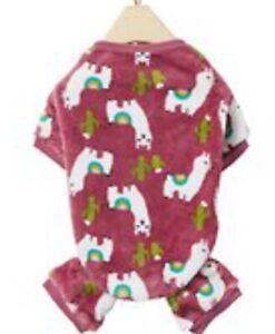 NWOT Dog Cat Frisco Cozy Fleece PJs - Happy Desert Llamas Cacti Pink Size Large