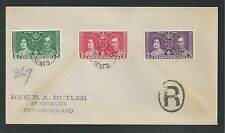 NEWFOUNDLAND, CANADA #230-32 KING GEORGE VI ROYAL CORONATION First Day Cover (2)