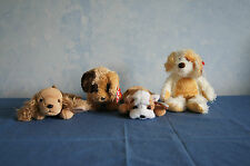 4 Ty Beanie Babies dogs Diggs Deputy Wrinkles Spunky plush beanbag animals GUC