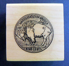 P27 Buffalo Nickel Coin rubber stamp WM 1x1""