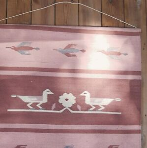 Vintage Wool Rug Wall Hanging Woven Tapestry Navajo Design Pink 3' wide 5' tall