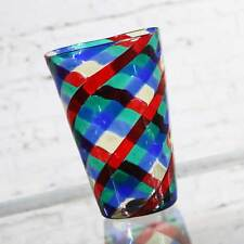 Fasce Ritorte Red Blue Green Murano Glass Vase Attributed to Fulvio Bianconi for