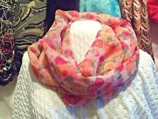 PINK  Floral Sheer  Sparkly Infinity  Scarf   FREE  SHIPPING