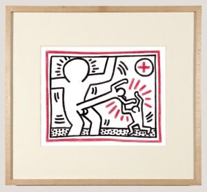 Keith Haring Ink Drawing Dynamic New York Gay American Abstract Fighting Cock