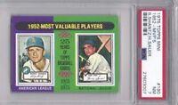 1975 Topps mini baseball card #190 1952 MVPs Hank Sauer Cubs Bobby Shantz PSA 7