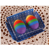2 Pcs Rainbow Colour Egg Rubber Pencil Eraser Students Stationery Gift Toy Prize