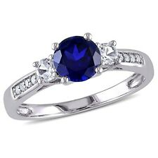 Amour Blue Sapphire Diamond 10K White Gold Ring - Size 6