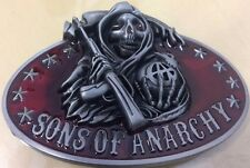 SONS OF ANARCHY GRIM REAPER SILVER RED COLOUR BELT BUCKLE - TAKES 4CM BELT